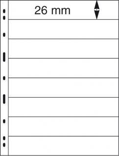 10 x LINDNER 078 UNIPLATE Blätter, schwarz 8 Streifen / Taschen 26 x 194 mm Für Briefmarken - Vorschau 2