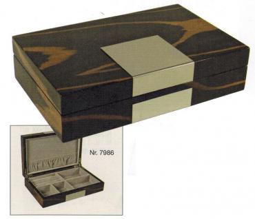 SAFE 7986 Dunkle Design Holz Hochglanz Schmuckschatulle Schmuckkassette / Uhrenschatulle Uhrenkassette mit extravaganter mamorierter Holzmaseung mit 6 Fächern - Format 250x160x65 mm