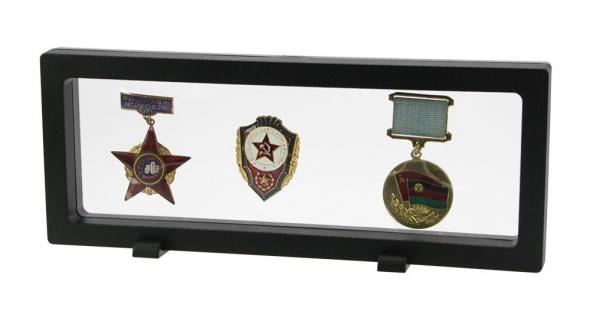 Safe 4529 Schweberahmen Neo Fotorahmen Bilderrahmen 3d Schwarz 230 X 90 Mm / 208 X 67 Mm Für Orden - Abzeichen - Pins - Ehrenzeichen - Militaria - Vorschau 1