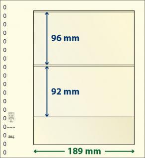 10 x LINDNER 802201P T-Blanko-Blätter Blankoblatt 18-Ring Lochung - 2 Taschen 96 / 92 x 189 mm