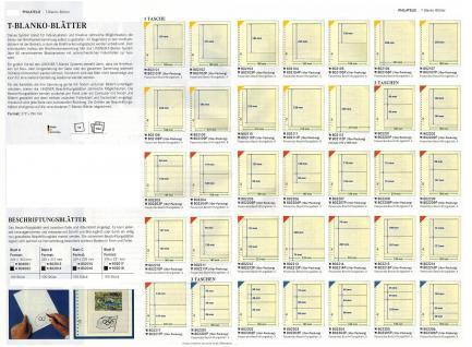 10 x LINDNER 802303P T-Blanko-Blätter Blankoblatt 18-Ring Lochung - 3 Taschen 75 / 69 / 69 x 189 mm - Vorschau 3