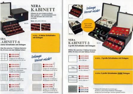 LINDNER 2373-2403E NERA KABINETT Sammelkassette Schmuckkassette Uhrenkassette 3 Schuber 2403E mit 3 Fächen 65x280 mm & variablen Stegen für die Facheinteilung - Vorschau 2