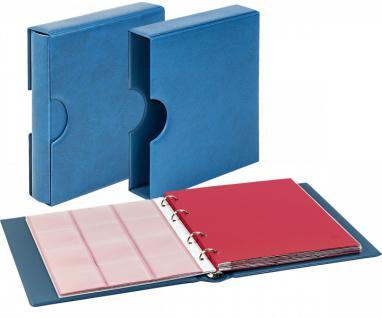 LINDNER 1106EK-B Münzalbum Karat CLASSIC Blau + Kassette + 10 x Münzhüllen MIX + 10 rote ZWL Zwischeneinlagen