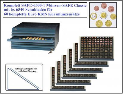 SAFE 6500-1 Classic Holz Möbelelement + 6x Schuber 6540 für 60 komplette Euro KMS Kursmünzensätze 1, 2, 5, 10, 20, 50 Cent - 1, 2 Euro Münzen