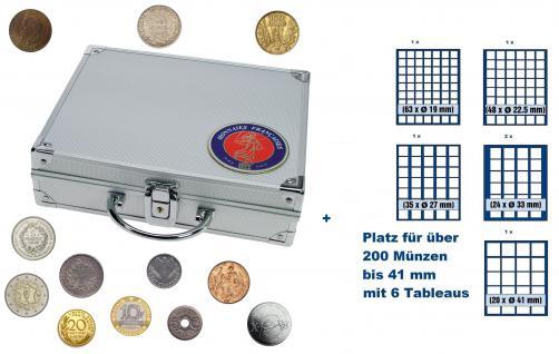 SAFE 231 STANDARD ALU Länder Münzkoffer SMART Frankreich / France mit 6 Tableaus Mix für über 200 Münzen bis 41 mm