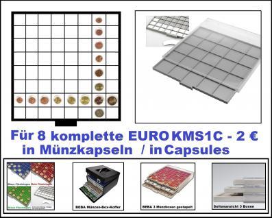 SAFE 6608-6 BEBA MÜNZBOXEN 64 quadratische Fächer 33, 6 mm + weißen Kartoneinlagen Für 8 komplette Euro KMS Kursmünzensätze von 1 , 2 , 5 , 10 , 20 , 50 Cent & 1 , 2 Euro in Münzkapseln
