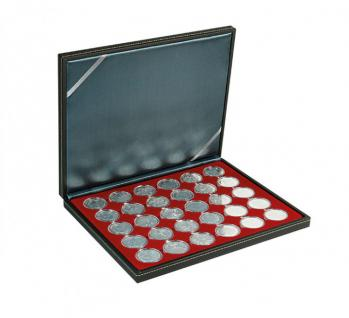 LINDNER 2364-2626E Nera M Münzkassetten Einlage Dunkelrot Rot für 30 x Münzen bis 39 mm & 10 Euro DM in Münzkapseln 33 mm - Vorschau 1