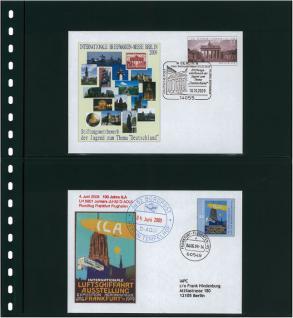 1 x LINDNER 02 Omnia Einsteckblätter schwarz 2 Streifen x 140 mm Streifenhöhe Für Postkarten & Briefe & Banknoten - Vorschau 3