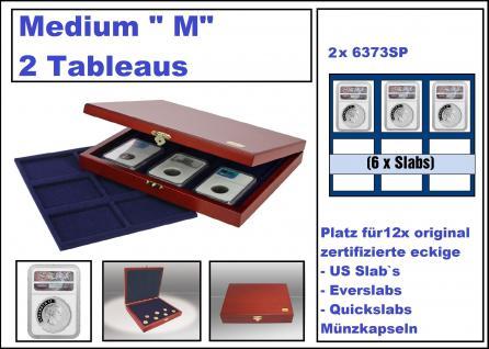 """SAFE 5899-6373-2 ELEGANCE Holz Münzkassetten """" SLAB 12 """" mit 2 Tableaus 6373 je 6 rechteckige Fächer Für 12 x original zertifizierte US Slab Münzkapseln & Everslab & Quickslab"""