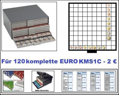SAFE 6157-1 Beba Münzkasten mit 10 Schubern 6110 Platz für 120 komplette Euro Kursmünzensätze KMS von 1 , 2, 5 , 10 , 20 , 50 Cent & 1 , 2 Euro