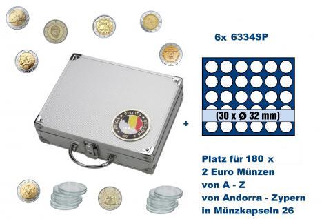 SAFE 239 - 6334 ALU Länder Münzkoffer SMART Belgien / Belgique / Belgie / Belgium mit 6 Tableaus 6334SP Für 180 2 Euro Gedenkmünzen von Andorra über Belgien bis Zypern in Münzkapseln 26