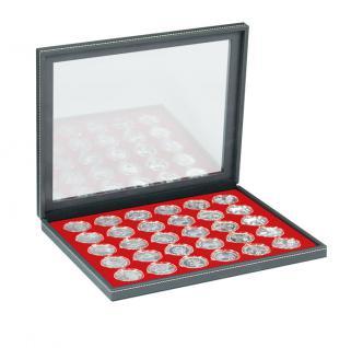 LINDNER 2367-2226E Nera M PLUS Münzkassetten Einlage Hellrot Rot mit glasklarem Sichtfenster für 30 x Münzen bis 39 mm & 10 - 20 Euro DM in Münzkapseln 33 mm
