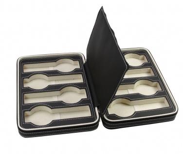 SAFE 0012 Leder Reiseetui Uhren Etui Koffer Uhrenbox in matt Carbo - Schwarz für 8 Armbanduhren Uhrenetui - Vorschau 3