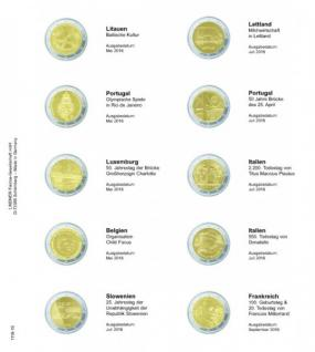 1 x LINDNER 1118-19 Vordruckblatt + K3 Karat Blatt - 2 EURO Gedenkmünzen Litauen Mai 2016 / Frankreich September 2016