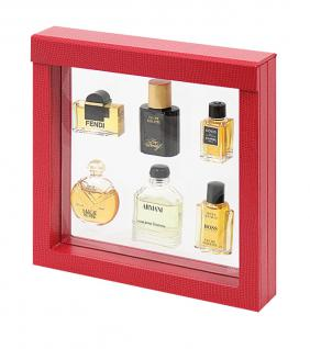 LINDNER 4868 NIMBUS 150 Sammelrahmen Rot Krokodesign Schweberahmen 3D 150x150x25 mm Für Parfum Mini Flacons