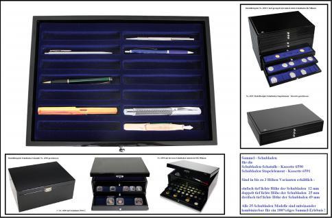 SAFE 5908 Schwarze Sammelvitrine Vitrinen in Klavierlack Optik für 12 Schreibgeräte - Füller - Füllfederhalter - Kulgelschreiber usw.