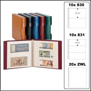 LINDNER 2810-814-G - Banknotenalbum Ringbinder Regular Grün + 20 Einsteckblättern weiß Mixed 830 & 831 mit 2 & 3 Taschen + Kassette für Banknoten Geldscheine