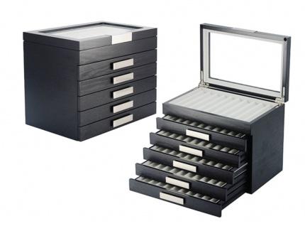 """SAFE 3030-6 Schwarze Design Holz Sammelvitrine XXL """" Stockholm """" Vitrinen Stiftebox Display Box für 60 Schreibgeräte - Füller - Füllfederhalter - Kulgelschreiber - Buntstifte - Bleistifte usw."""