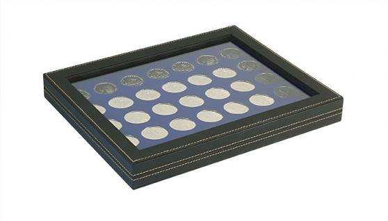 LINDNER 2367-2111ME Nera M PLUS Münzkassetten Einlage Marine Blau mit glasklarem Sichtfenster 35 x Münzen 32, 50 mm für 10 & 20 Euro / DM / 10 & 20 Mark DDR