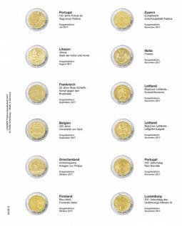 1 x LINDNER MU2E19 Multi Collect Münzhüllen Vordruckblatt 2 Euro Gedenkmünzen Portugal 2017 - Luxemburg 2017
