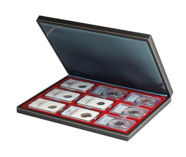 LINDNER 2364-2619E Nera M Münzkassetten Dunkelrot Rot für 9 x original US Slabs Münzkapseln 64 x 86 mm - Vorschau 1