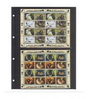 10 x LINDNER 4102 Einsteckhüllen Ergänzungsblätter Publica L A4 2 Taschen / Streifen schwarz 147 x 220 mm Für Banknoten - Briefmarken - Briefe - Fotos - Bilder - Urkunden