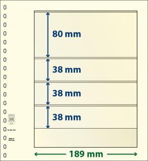 1 x LINDNER 802405 T-Blanko-Blätter Blankoblatt 18-Ring Lochung 4 Taschen 80 / 38 / 38 / 38 x 189 mm