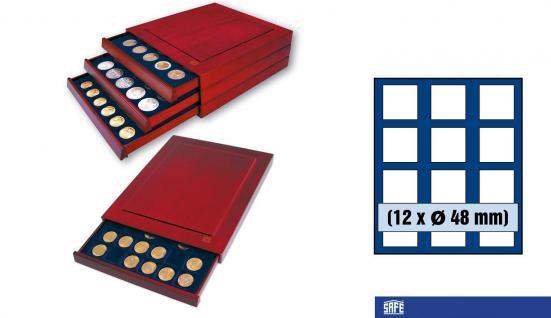 SAFE 6848 Nova Exquisite Holz Münzboxen Schubladenelement 12 Eckige Fächer x 48 mm Für Münzen bis 48 mm - 2 Scudi Gold Italien in Kapseln - 50 FF Francs Frankreich in Kapseln - 1 Dollar US Silver Eagle in Münzkapsel 41 mm