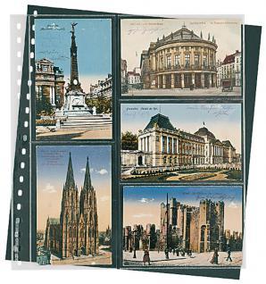 10 x LINDNER 826P Klarsichthüllen Schwarz 2 senk - 3 waagerechte Taschen 95x143 mm Für alte Postkarten Ansichtskarten - Vorschau 1