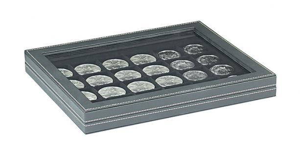 LINDNER 2367-2124CE Nera M PLUS Münzkassetten Einlage Carbo Schwarz mit glasklarem Sichtfenster 20 Fächer für Münzen bis 41x 41 mm - 1 Dollar US Silver Eagle $