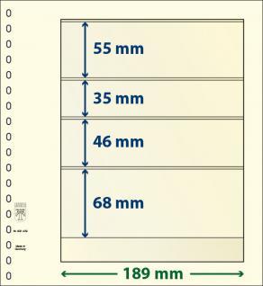 10 x LINDNER 802409P T-Blanko-Blätter Blankoblatt 18-Ring Lochung 4 Taschen 55 / 35 / 46 / 68 x 189 mm