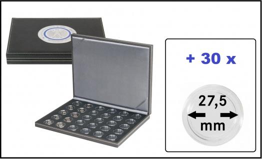 Lindner SO2364BS-2K Münzkassette NERA M BLACK SAMT für 30x Deutsche 5 Euro Gedenkmünzen Blauer Planet & Klimazonen 2016 - 2021 + 30 Münzkapseln 27, 5 mm - Vorschau 1