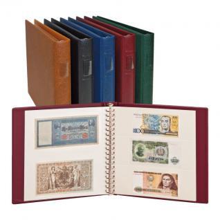 LINDNER 2810-B - Banknotenalbum Ringbinder Regular Blau + 20 Einsteckblättern Klarsichthüllen weiß Mixed 830 & 831 mit 2 & 3 Taschen für Banknoten Geldscheine