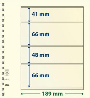 10 x LINDNER 802411P T-Blanko-Blätter Blankoblatt 18-Ring Lochung 4 Taschen 41 / 66 / 48 / 66 x 189 mm