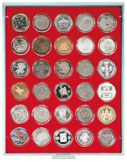 LINDNER 2226 MÜNZBOXEN Münzbox Standard Grau Hellrot Für 30x 39 mm 10 & 20 EURO 10 DM 10 & 20 Mark DDR Münzen in Münzkapseln Standard 2226