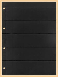 1 x KOBRA E25 Combi Einsteckblätter beideitig schwarz 5 Streifen 50 x 200 mm Ideal für Briefmarken Blocks Viererblocks
