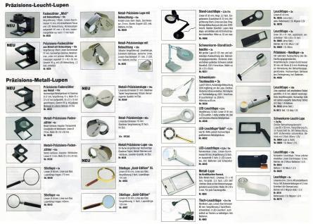 SAFE 4645 ALU Design Leuchtlupe Stiellupe Lupe 2 LED 2, 5x & 5x fache Vergrößerung Linse 90 mm + Etui + Batterien - Vorschau 4