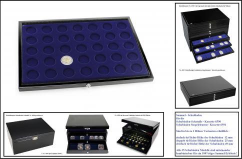 1 x SAFE 5869-1 Schwarze Schubladen mit Tableaus in blau 35 runde Fächer 32, 5 mm Für die Kassette 6590 & 6591 Ideal für 2 Euro Münzen in Kapseln & 10 DM & 10 Mark DDR Deutsche 10 & 20 Euro