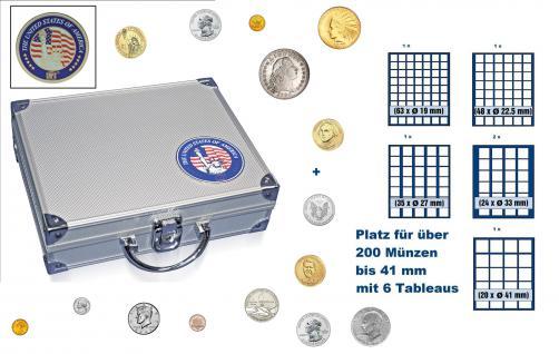 SAFE 230 ALU Münzkoffer USA mit 6 Tableaus Mixed Für über 200 Münzen bis 41 mm