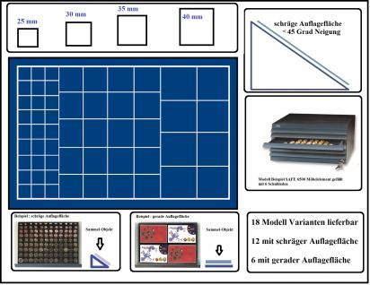 SAFE 6568 Schubladen für SAFE 6500 mit schräger Auflagefläche blaue Einlage 57 eckige Fächer MIXED 25 - 30 - 35 - 40 mm - Idealer Starter Schuber für Münzen mit verschiedenen Durchmessern bis 40 mm