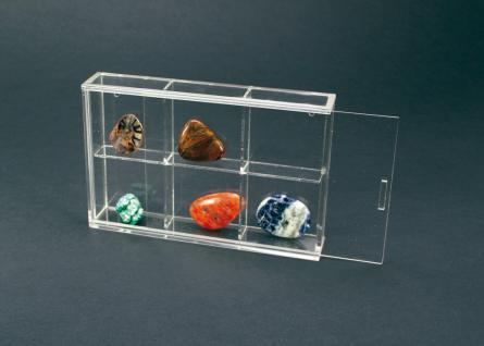 SAFE 5254 ACRYLGLAS Sammelvitrinen Kleinvitrinen Setzkasten Universal 6 Fächern 55 x 55 x 42 mm Für Mineralien - Fossilien - Bernstein - Muscheln - Schnecken - Kristalle