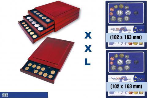 SAFE 6872 XXL Nova Exquisite Holz Münzboxen mit 2 Tableaus 6372 und 4 Eckige Fächer 102x163 mm Für EPALUX Euro PP Sets