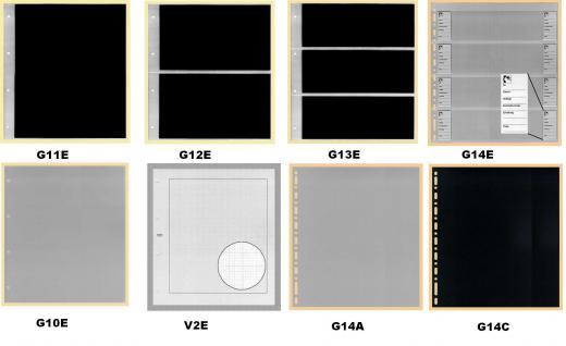 10 KOBRA G13E Ergänzungsblätter Klarsichthüllen glasklar + schwarzer Einlage 3 Taschen 235 x 90 mm - Vorschau 2