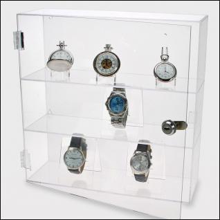 """SAFE 5249 Acrylglas Design Uhrenvitrine Medium """" D """" 240 x 240 x 60 mm abschließbar Für ca. 12 Taschenuhren"""