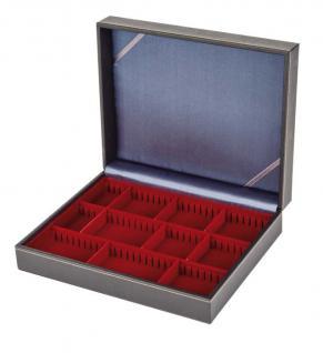 LINDNER 2368-2463E NERA VARIUS Sammelkassetten mit dunkelroter Einlage 3 varaiblen Fächern Für Mineralien - Fossilien - Edelsteine
