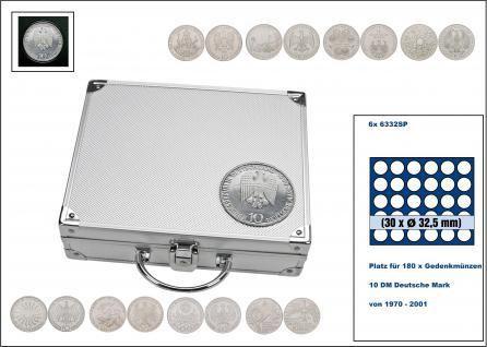 SAFE 241 ALU Länder Münzkoffer SMART BR. Deutschland 10 DM Gedenkmünzen von 1970 - 2001 Platz für 180 Münzen bis 32, 5 mm