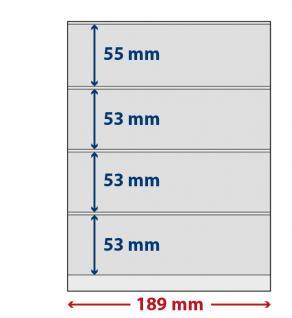 5 x LINDNER S802408H LINDNER-T freestyle Folienhüllen 4 Einsteckstreifen 53x189mm mit Klebestreifen