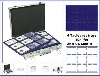 LINDNER S2307-S2219E MÜNZKOFFER im ALU Design + 4 blauen Tableaus S2219ME für 9 original US Slab 's Münzkapseln