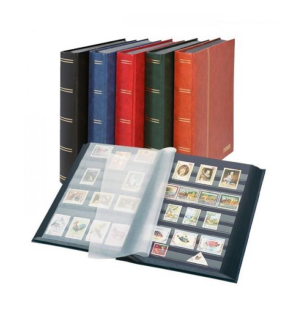 """Lindner 1169S-B Briefmarken Einsteckbücher Einsteckbuch Einsteckalbum Einsteckalben Album """" Elegant """" Blau wattiert 60 schwarze Seiten"""