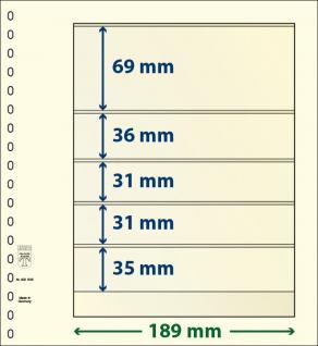 10 x LINDNER 802506P T-Blanko-Blätter Blankoblatt 18-Ring Lochung 5 Taschen 69 / 36 / 31 / 31 / 35 x 189 mm